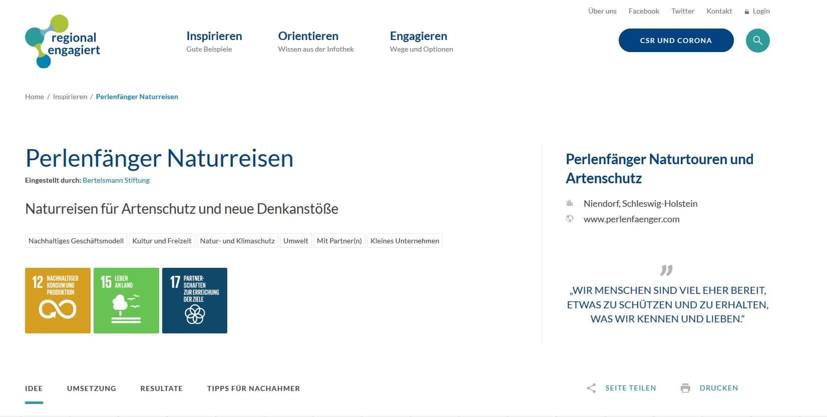 Perlenfänger als Beispiel für Engagement von Unternehmen und CSR – Bertelsmann Stiftung