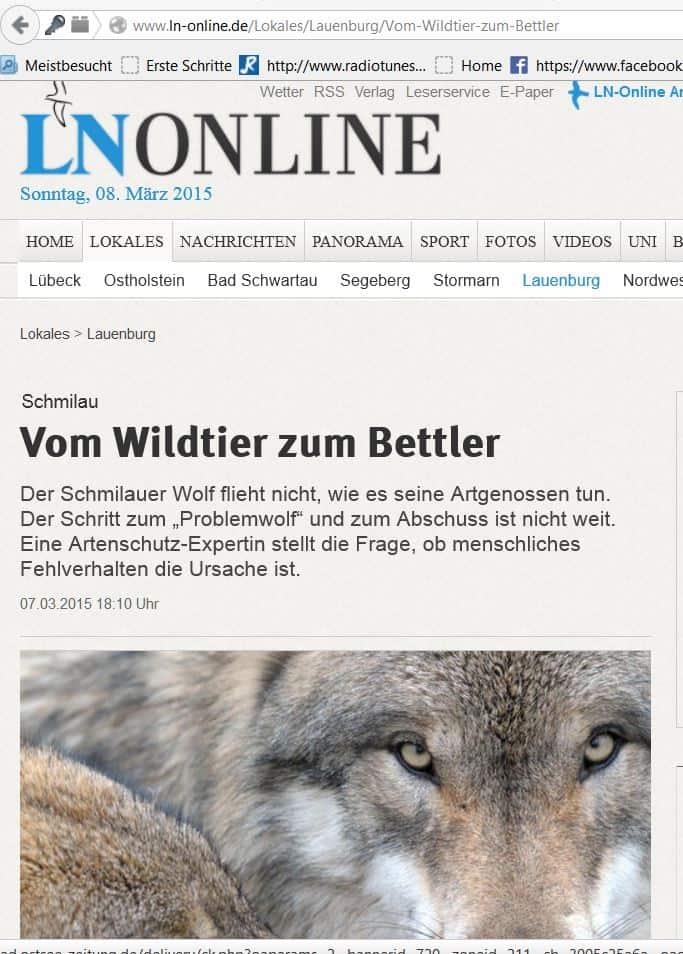 Vom Wildtier zum Bettler! Artikel vom 07.03.15 Lübecker Nachrichten